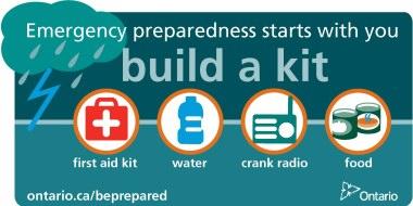 Emergency Preparedness - Build a kit photo - Link to ontario.ca/beprepared
